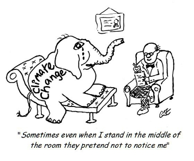 Cartoon Climate Change Elephant in Therapy